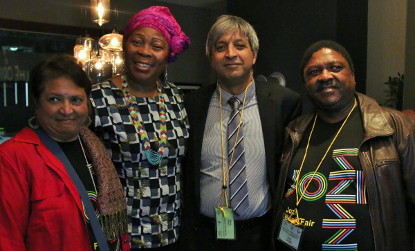 LETS READ: Gcina Mhlope  poses with VC Adam Habib and Khanya College organizers at the Jozi Book Fair. Photo: Katleho Sekhotho