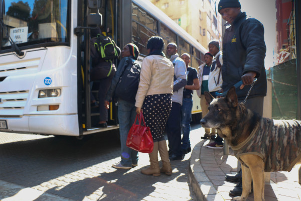 THE REAL WATCHDOG: Readys Nukeri and German Shepherd 'Rex' work as part of security for students living at Esselen. Photo: Litaletu Zidepa