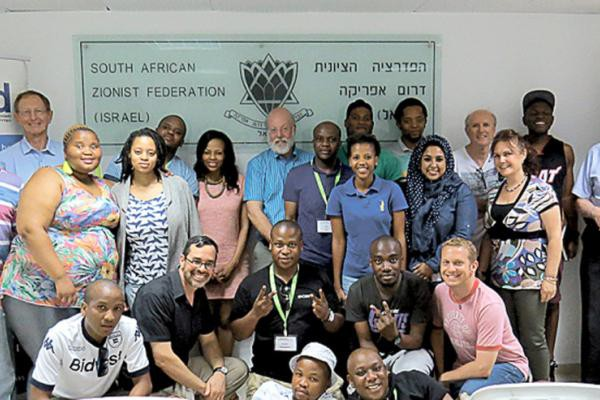 The South African student delegation with members of Telfed in Raanana. Photo By Dorron Kline