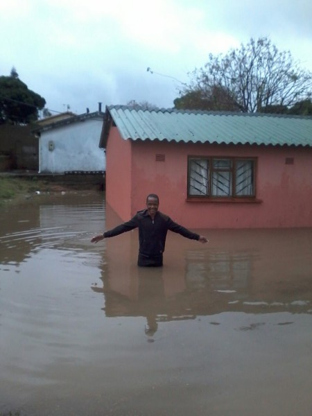 One of the houses affected by the heavy rain that hit KwaMakhutha last night.