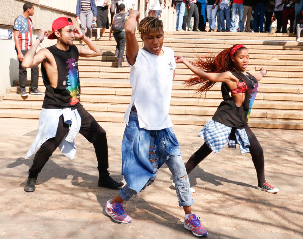 Something for the sisters: Maziya Sibeko, Jason Erasmus and Abby Molema do their street dance for the SRC talent show.            Photo: Anelisa Tuswa