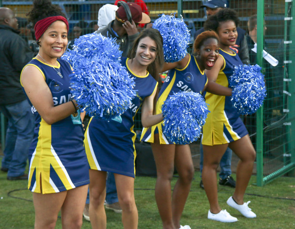 BURSTING WITH SPIRIT: Pumping up the crowd, the Wits cheerleaders are at every match religiously, despite the low fan turn-out. Photo: Rafieka Williams.