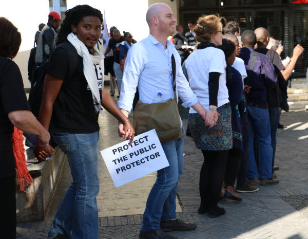 UNITY: The crowd forms a human chain to signify solidarity inst corruption. Photo: Boipelo Boikhutso.