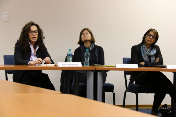 THE PANELISTS: Right to left: Professor Bonita Meyersfeld, Justice Kate O'Regan and Advocate Kemeshni Pillay discuss Gebder disposition in South Africa. Photo: Boipelo Boikhutso