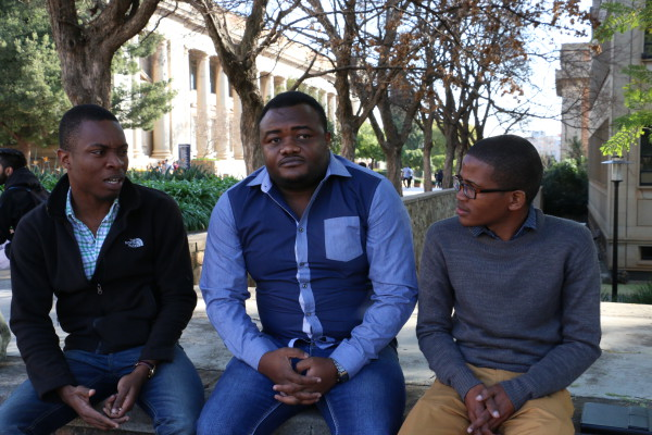 TENSIONS PEAK: Tinovimbanashe Gwenyaya (L-R) are unhappy with the efforts of the SRC in communicating their struggles to management at Wits University. The unhappiness surrounds the international students' memorandum which was drafted last semester and handed to Deputy Vice-Chancellor, Zeblon Vilakazi. Photo: Riante Naidoo