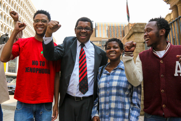 VICTORIOUS: Wits EFF members and Advocate Dali Mpofu celebrate outside the South Gauteng court, after their suspension from the university was overturned. Photo: Michelle Gumede