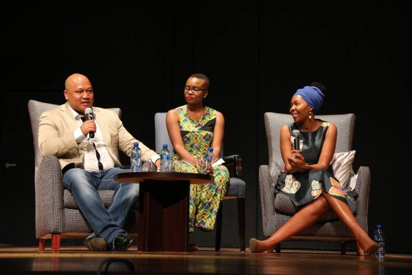 OPEN PANEL: Eusebius McKaiser,  Panashe Chigumadzi and Sisonke Msimang discussing issues in their research with the audience.  Photo: Samantha Camara