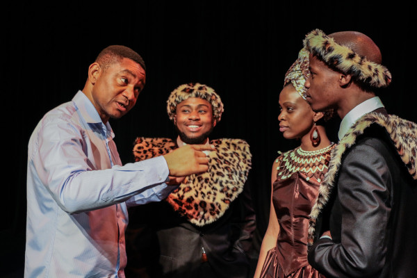 PLAYING AROUND: Director Dr Samuel Ravengai (far left) makes a joke while directing cast members Sibusiso Mkhize, Nomfundo Shezi and Lucky Ndlovu (left to right) during a photoshoot for Vumani Oedipus, a collaborative production between Wits Theatre and The Market Theatre.