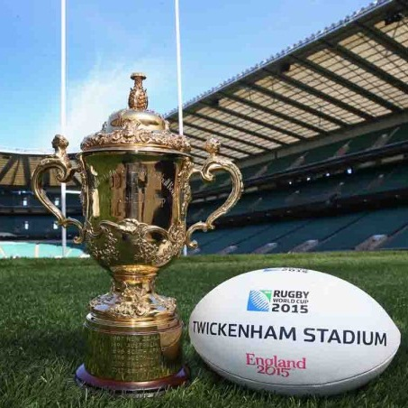 LONDON, ENGLAND - MAY 02: The Webb Ellis Cup sits on the pitch during the IRB Rugby World Cup 2015 Schedule Annoucement held at Twickenham Stadium on May 2, 2013 in London, England. The 13 Match Venues and Host Cities selected are: Twickenham Stadium (London), Wembley Stadium (London), Olympic Stadium (London), Millennium Stadium (Cardiff), Manchester City Stadium (Manchester), St James Park (Newcastle), Elland Road (Leeds), Leicester City Stadium (Leicester), Villa Park (Birmingham), Kingsholm Stadium (Gloucester), stadiummk (Milton Keynes), Brighton Community Stadium (Brighton) and Sandy Park (Exeter). (Photo by David Rogers/Getty Images for IRB)