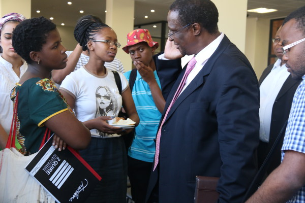 THINGS GET DOWN: A group of students came to Professor Barney Pityana after delivering the Steve Biko Memorial lecture at Wits Public Health school. Photo: Sinikiwe Mqadi