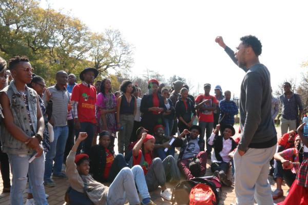 Vuyani Pambo briefing EFF members after the great brawl