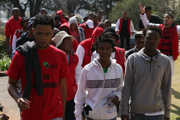 Wits EFF members at the men's res march. Photo: Tanisha Hieberg
