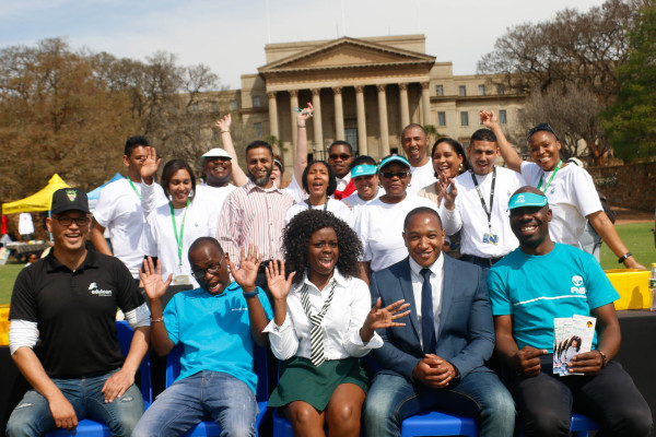 Wits financial aid team celebrates a great start to student banking expo, with representatives from Edu loan, Absa, Nedbank, standard bank and FNB. Photo Sibonglie Machika