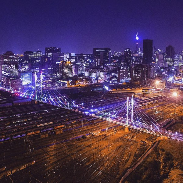 MANDELA BRIDGE: The Nelson Mandela bridge in the night time. This photo was taken by renowned cinematographer Ofentse Mwase