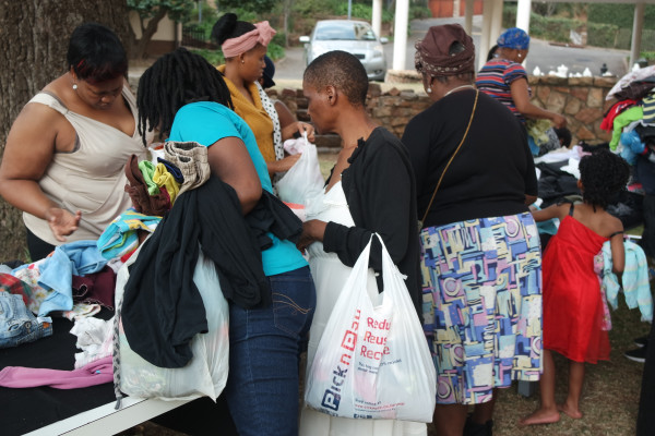 SATURDAY SHOPPING: Items of donated clothing was arranged on tables and allowed woman to shop for themselves or family members. Photo: Provided.