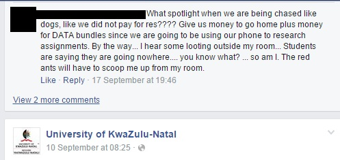 Ukzn closes residences due to protests wits vuvuzela fackebook ukzn 2 fandeluxe Gallery