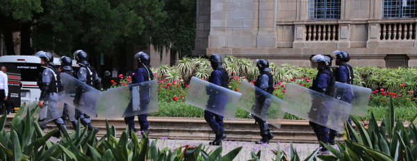 BRINGING OUT THE BIG GUNS: Armed private police could be seen at various locations on east campus. Photo: Michelle Gumede