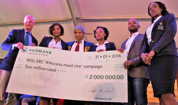 NedBank Gloria Phasha, Vice-Cahncellor Adam Habib, Karabo Maruthaand Nompendulo Mkatshwa