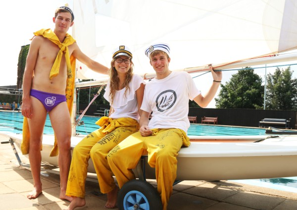 Fun In the Sun!: Members of the Yacht Club sitting outside their yacht during O-Week. Photo: Michelle Gumede