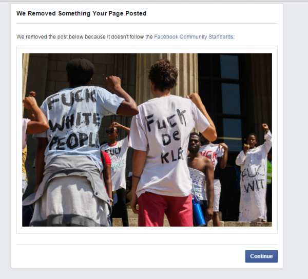 A screen-grab of the message displayed by Facebook regarding the removal of the image from the Wits Vuvuzela Facebook account.
