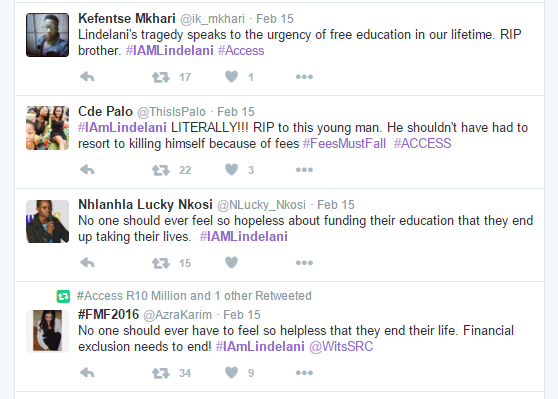 Screen-grab from Twitter showing the messages of condolence and support for Lindelani Myeza who allegedly committed suicide after being rejected by the National Student Financial Aid Scheme (NSFAS)