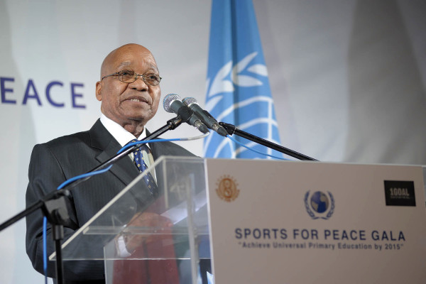 South African President Jacob Zuma at the Sports for Peace Gala 2010 in Johannesburg. By South_African_President_Zuma.TIF: Sportsforpeace derivative work: Rosentod (South_African_President_Zuma.TIF) [Public domain], via Wikimedia Commons