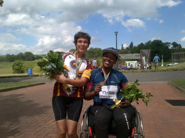 GOING FOR GOLD: Palesa Manaleng and Toni Mould (from left) showing off their medals afetr they excelled at the 2016 South African National Road Para-cycling Championships in KwaZulu-Natal