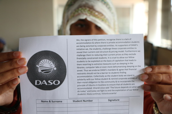 PETITIONS, NOT PROTESTS: DASO's campaign aims to address the pricing policy at private student's accommodation. Petitions are being distributed across campus