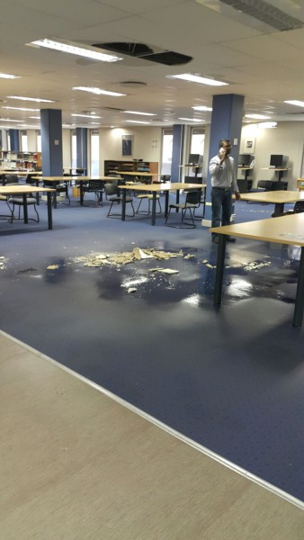 FLOOD: Water damage caused part of the ceiling at Wartenweiler library to collapse. Flooding from open taps has closed Wartenweiler William Cullen library. Photo: Provided