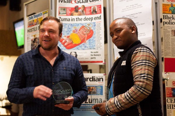 Taco Kuiper journalism award Winner Peter Myburgh (left) alongside runner up Siphe Macanda (right). Photo: Kyle Oberholzer