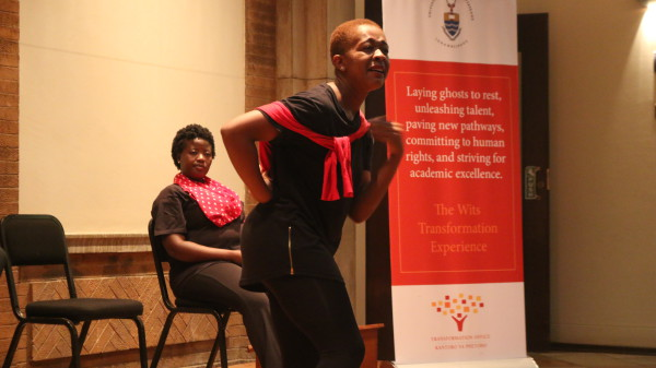 A vaginalicious performance: Cast member Stella Dlangalala performed 'My angry vagina' for the audience and recieved aplauds from the giggling crowd. Photo: Thembisile Dzonzi