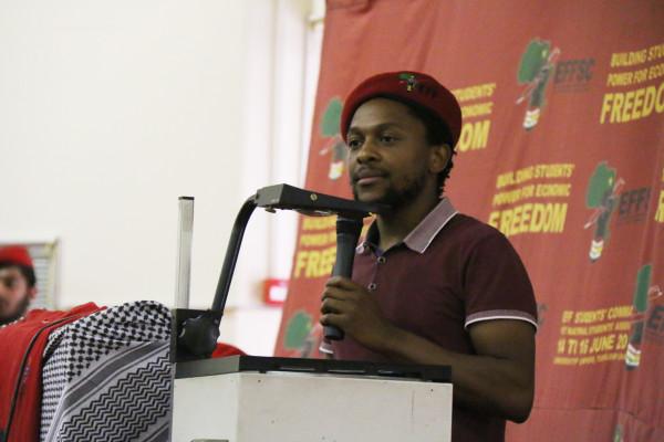 SOLIDARITY WITH PALESTINE: Mbuyiseni Ndlozi, speaks to students and workers at Umthombo. Photo: Nokuthula Zwane