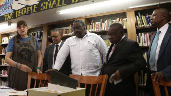 MINISTERIAL VISIT: Every now and then, even the bigwigs come to check out Wits Libraries. Minister Blade Nzimande (right) Minister Nathi Nhleko and DVC Prof Andrew Crouch view the original documents of the Treason Trial in William Cullen Lirary. Photo: Michelle Gumede