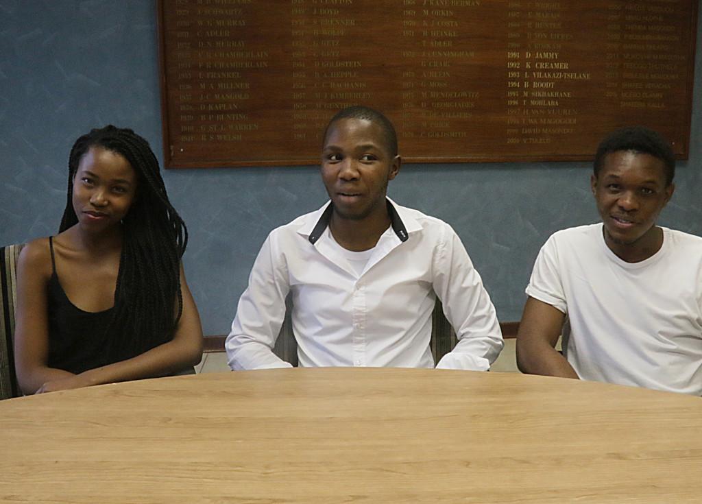THE CREATORS: The SRC's Mzwanele Ntshwanti (center) with his sub-committee members Silindile Mbatha (left) and Kusasalethu Mojanga (right). Photo: Tebogo Tshwane