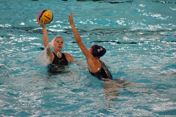 AIM HIGH PLAY HARD: Emma Hardham in the pool at an Olympic Qualifiers match against USA taking place Gouda, Netherlands. Photo: Provided