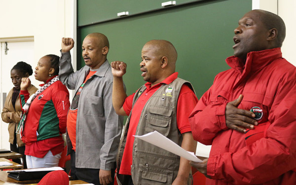 NEHAWU NO MORE: Billy Cebekhulu (second from the right) and Richard Sadiki (far right) were suspended from Nehawu and have since resigned from the union. Photo: Roxanne Joseph