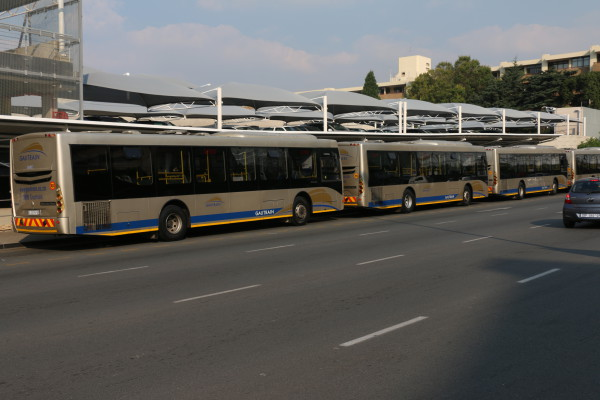 WEATHERING THE STORM: Gautrain buses parked outside a Gautrain station