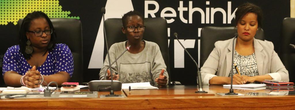 #NOTONMYBODY: Panelists, Tiffany Mugo, Phyllia Ngoatje and Charlene Beukes speak on sexual assault and gender issues on campus. Photo: Tebogo Tshwane.