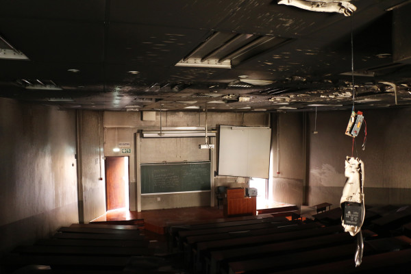 AFTER THE FIRE: What remains of the inside of a lecture hall in Umthombo Building