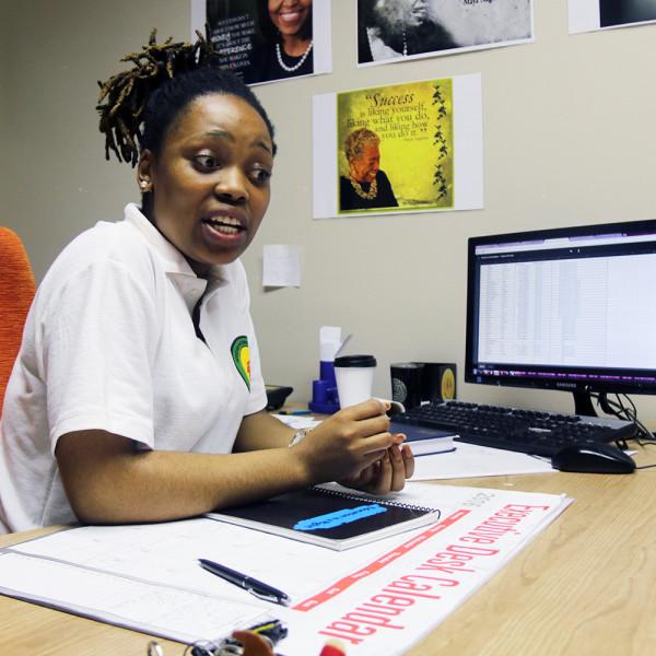 GIVING GENEROUSLY: Treasurer General, Karabo Marutha, explains the WCCO donation
