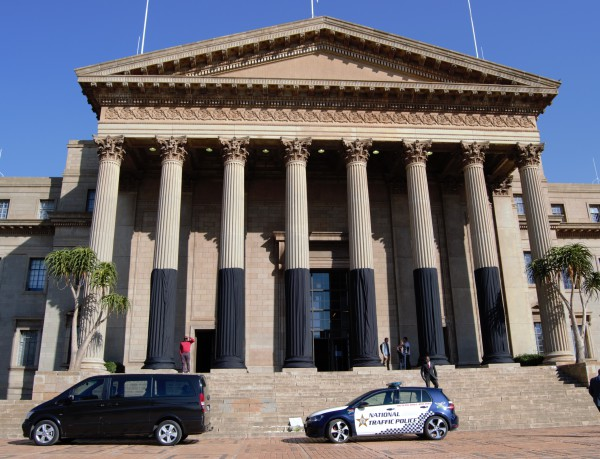 WITS MOURNS: The university draped black cloth on the Great Hall pillars in honour of the seven Witsies that passed away. Photo: Candice Wagener