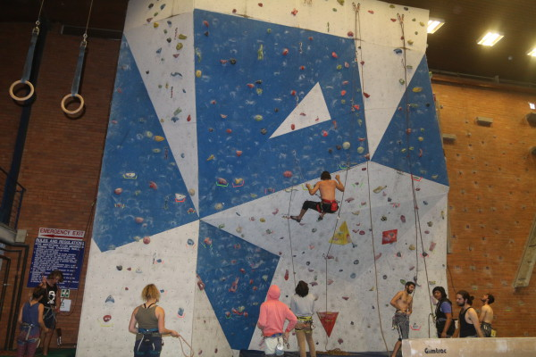 INDOOR CLIMBING: Some of the members of Mountain Club, climbing 8m wall during preparation in Old Mutual Building.   Photo: Wendy Mothata
