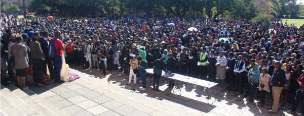 OVERWHELMING RESPONSE: The Wits university community came in numbers to mourn their students