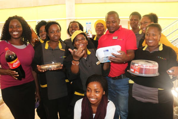 TOKEN OF APPRECIATION: The APES Post Graduate Council make an effort to show their appreciation to the cleaning staff on Friday afternoon. Photo: Nokuthula Zwane