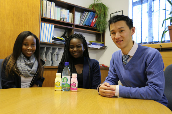Left to right: Maletsatsi Kgatitso, Charlene Makita, Dr. David Ming. Part of the interdisciplinary team who researched and developed the Moringa-infused yoghurt and vitamin water. Photo: Mokgethwa Masemola