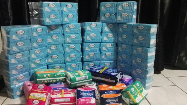 PADS FOR SCHOOL GIRLS: The speechies are collecting donations for school girls in the Tambo community. Photo: Raeesah Kajee