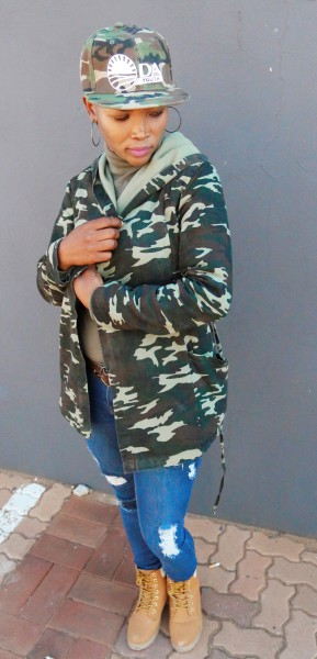 MILITARY TAKEOVER: Nkele Molapo, DA Provincial Media Officer wearing a military inspired ensemble. Photo: Nokuthula Zwane