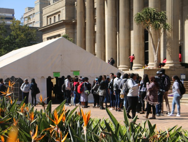 NEW LEADERSHIP: Witsies queue to vote in SRC elections held on campuses this week. Photo: Nokuthula Zwane