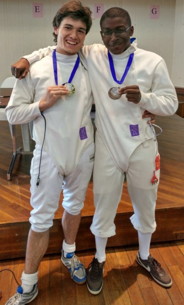 Fencer Michael Gaynor and Kevin Michel who placed first and second in the men's epee
