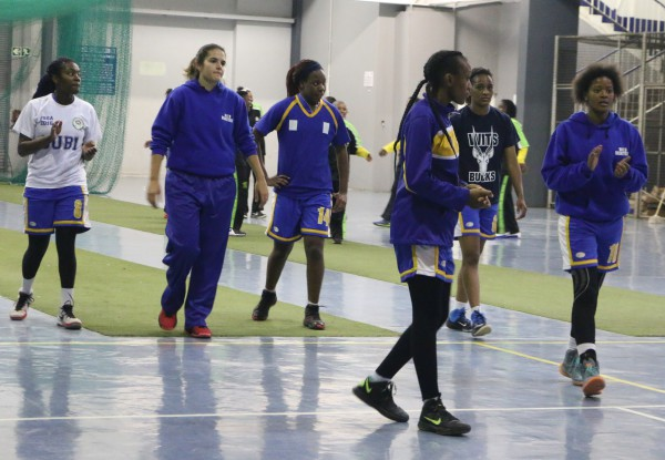 MOVERS AND SHAKERS: Some of the Wits Lady Bucks warming up.  	     Photo: Wendy Mothata